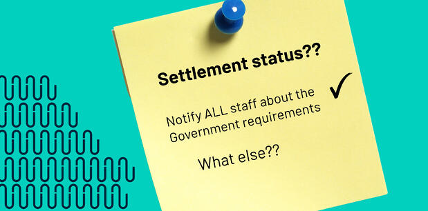 Settlement Status Post it note